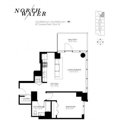 One Bedroom One Bathroom Floor Plan 1M