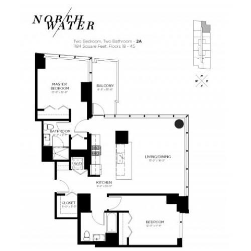 Two Bedroom Two Bathroom Floor Plan 2A