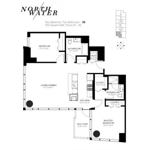 Two Bedroom Two Bathroom Floor Plan 2B