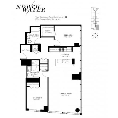Two Bedroom Two Bathroom Floor Plan 2E