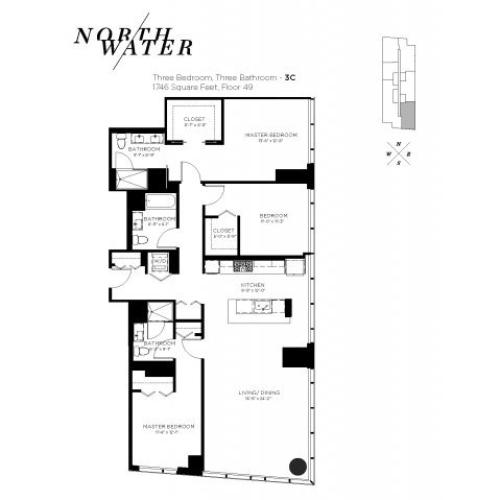 Three Bedroom Three Bathroom Floor Plan 3C Penthouse
