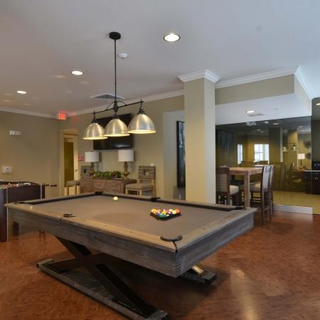 Billiards room of resident lounge with foosball table
