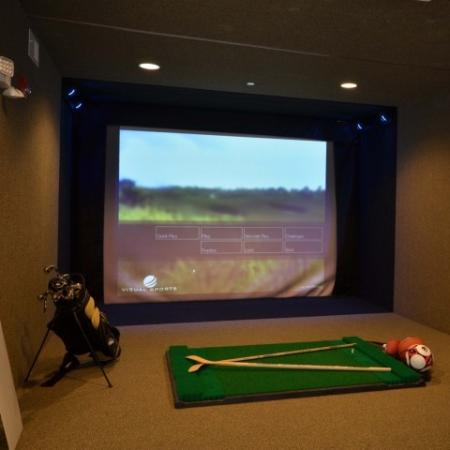 Virtual sport simulator room inside resident lounge.