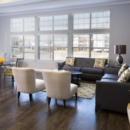 Resident community lounge with lots of natural light