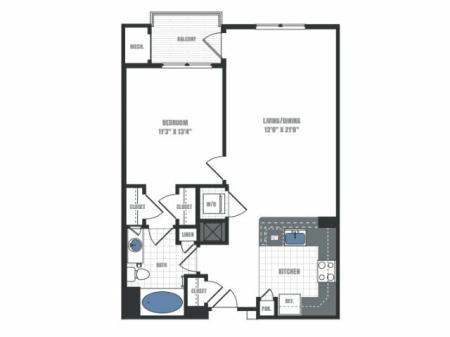 A1D - one bedroom one bathroom floor plan