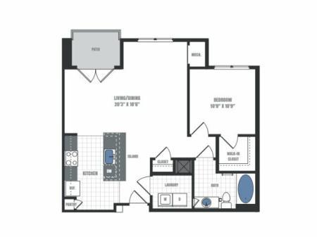 A2 - one bedroom one bathroom floor plan