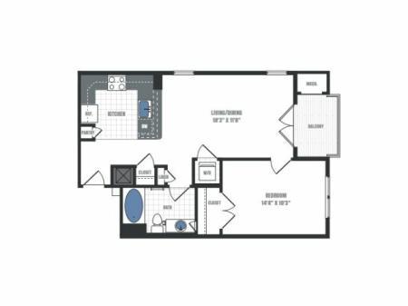 A3 - one bedroom one bathroom floor plan