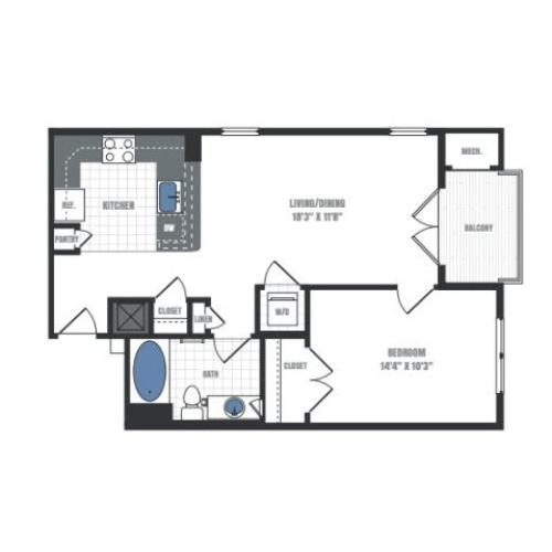 A3 - one bedroom one bathroom floor plan