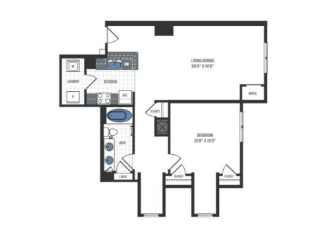 A5 - one bedroom one bathroom floor plan