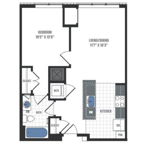 A6A - one bedroom one bathroom floor plan