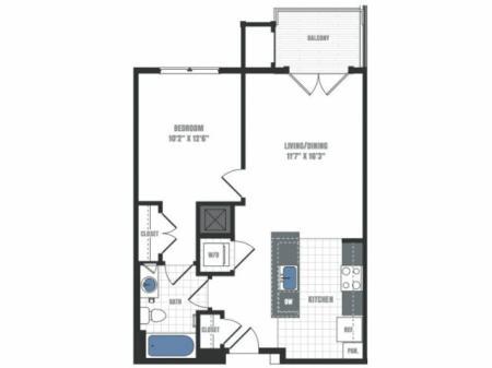 A6D - one bedroom one bathroom floor plan