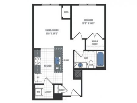 A7 - one bedroom one bathroom floor plan