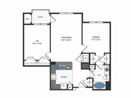 2 Bedroom Floor Plan | Eastside Flats