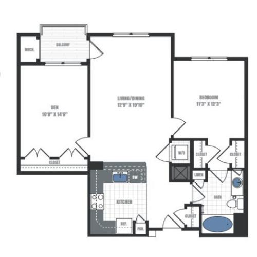 2 Bedroom Floor Plan | Eastside Flats