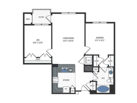 B1B - one bedroom one bathroom with den floor plan