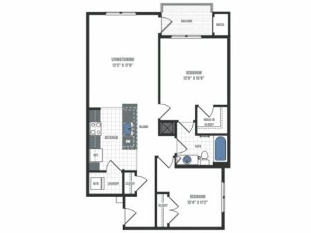 B3 - two bedroom one bathroom floor plan