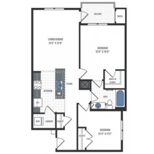 2 Bedroom Floor Plan | Eastside Flats 2