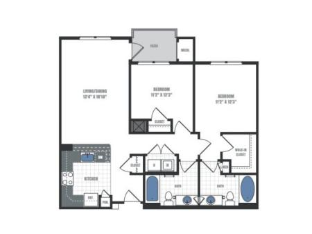 2 Bedroom Floor Plan 3 | Eastside Flats