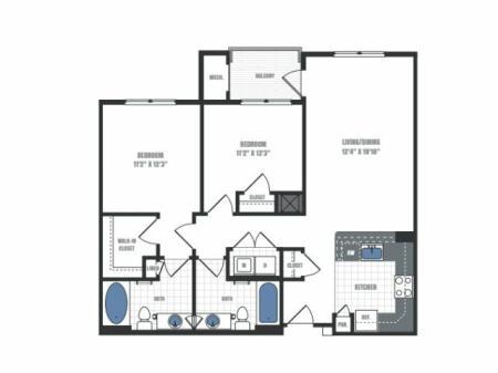 C1A - two bedroom two bathroom floor plan
