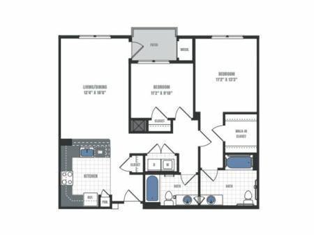 C2 - two bedroom two bathroom floor plan