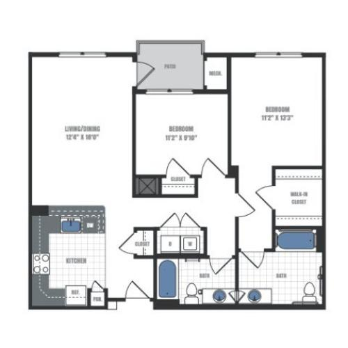 2 Bedroom Floor Plan 4 | Eastside Flats