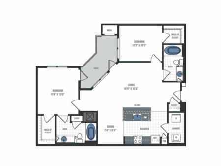 2 Bedroom Floor Plan 5 | Eastside Flats