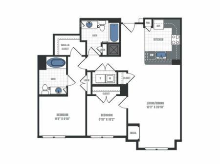 C5 - two bedroom two bathroom floor plan
