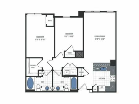 C6 - two bedroom two bathroom floor plan
