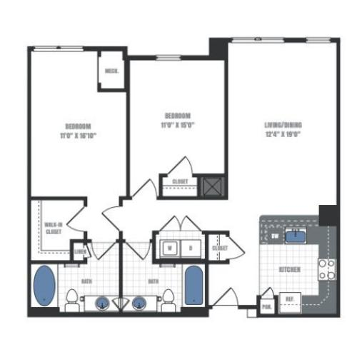 C6 - two bedroom two bathroom floor plan