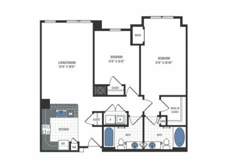 C6A - two bedroom two bathroom floor plan