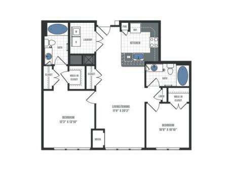 C7 - two bedroom two bathroom floor plan
