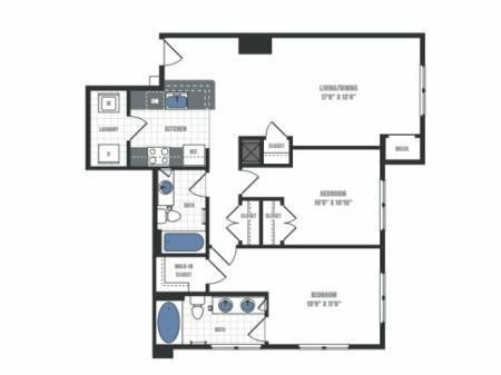 C8 - two bedroom two bathroom floor plan