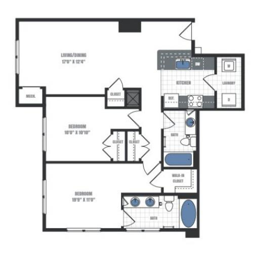 C8A - two bedroom two bathroom floor plan