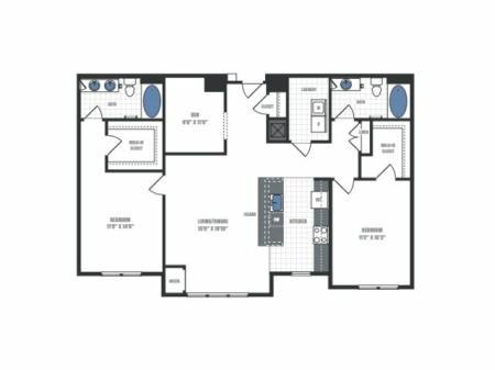 D1- two bedroom two bathroom with den floor plan
