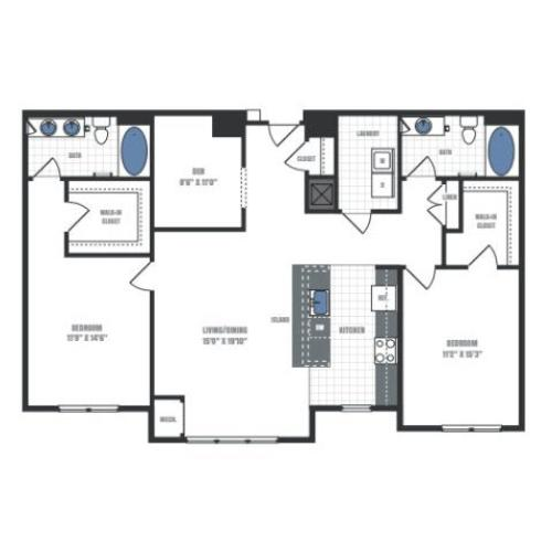 D1- two bedroom two bathroom with den floor plan