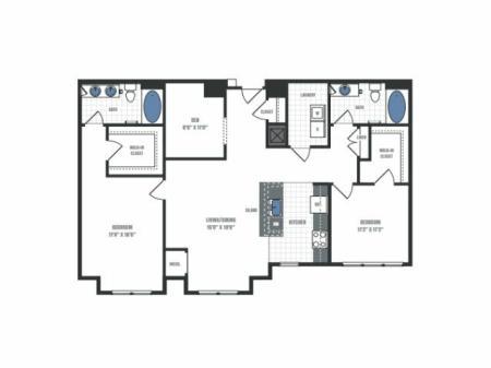 D1A - two bedroom two bathroom with den floor plan