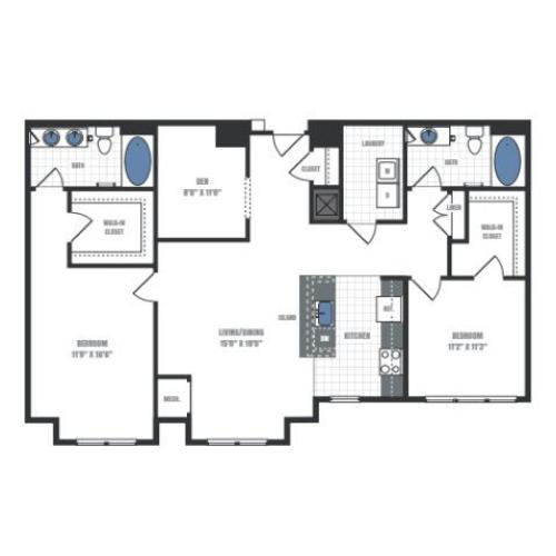 D1A - two bedroom two bathroom with den floor plan
