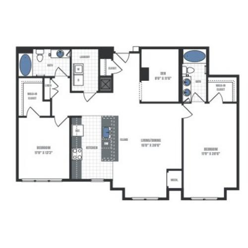 D2 - two bedroom two bathroom with den floor plan