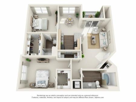 2 Bed 2 Bath Floor Plan B2