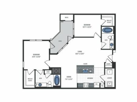 C4A - two bedroom two bathroom floor plan
