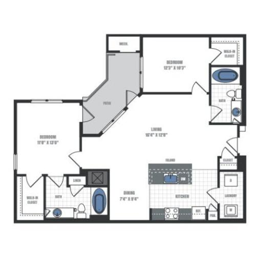 C4A - two bedroom two bathroom floor plan
