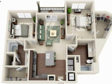 B1A - 2 BEDROOM 2 BATH