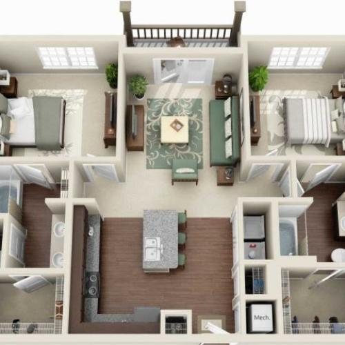 B2A - 2 BEDROOM 2 BATH
