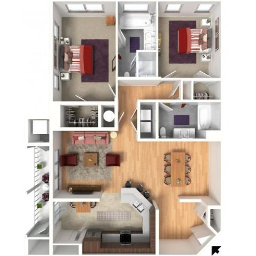 Two Bedroom Floorplan | Queens Gate 1