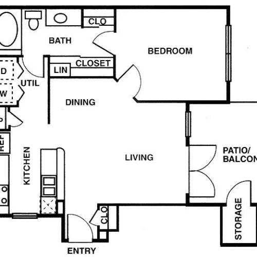 A1 one bed, one bath with dining room and balcony