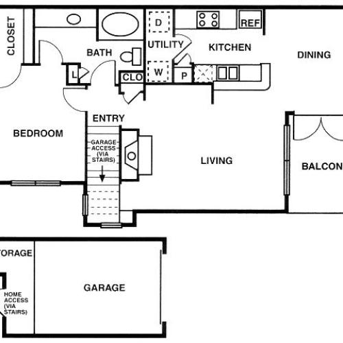 A2 one bed, one bath with attached garage, dining room and balcony