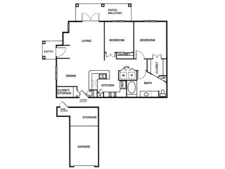 B1 two bed, one bath with attached garage, dining room and patio/balcony