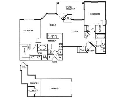 B2 two bed, two bath with attached garage, dining room and patio/balcony
