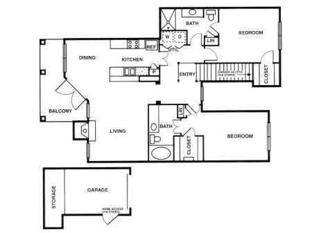 B3 two bed, two bath with attached garage, dining room and balcony