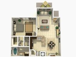 Cypress Rehab one bedroom one bathroom 3D floor plan